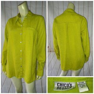 Chicos Design Shirt Sz 1 (M) Citron Slub Linen